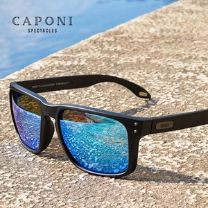CAPONI Blau-Spiegel-Sonnenbrille Männer TR-90 Feld polarisierte UV Ray Cut Lense Brillen Vintage-Fashion Square Männer Sonnenbrillen CP9417