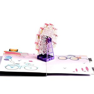 3D Laser Cut Handmade Colorful Cover Ferris Wheel Paper Greeting Cards PostCard Happy Birthday Party Girlfriend Creative Gift