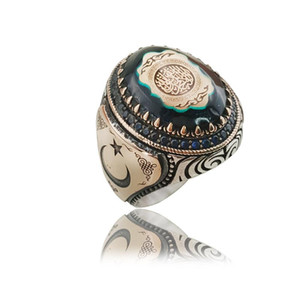 Original Hot Selling Rings Antique Silver Men Ring Vintage Jewelry Moon Star Islamic Turkish Ottoman Statement Boho Muslim Ring