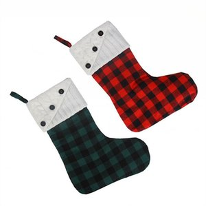 Christmas Stocking Button Plaid Canvas Ornaments Red White Black Xmas Hanging Stocking Christmas Lattice Socks Party Decoration LJJP670