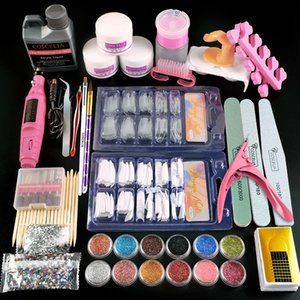 Full Nail Manicure Set Pro Acrylic Kit With Drill Machine Acrylic Liquid Glue Glitter Powder Nail Tips Nail Art Tool Kit 01