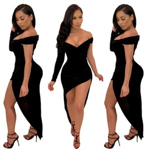 Mulheres Vestido Fashion Sexy Assimétrica V-Neck Skirt Mulheres Designers Roupas 2020 Biack Tocwu
