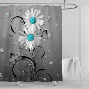 Bathroom Sets Shower Curtain Flower Set Waterproof Polyester with 12 Hooks 180x180CM
