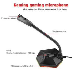 Computer Microphone 360° Omnidirectional Pickup RGB Breathing LightHD USB Microphone for Voice Video Chat Conference Lecture