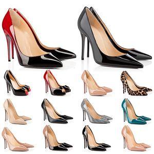 Tacchi alti hot bottoms rosso tacco da donna 8 10 12 cm in vera pelle puntina Pompe di punta in gomma scarpe da banchetto per banchetti Dimensioni 35-42
