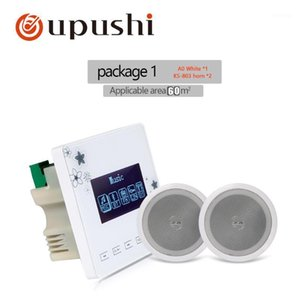 Oupushi A0+KS803 2*15W BT wall with two ceiling speaker Intelligent background music system Support BT USB FM SD card1
