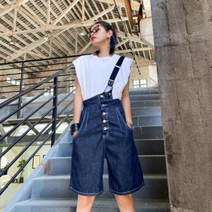 Z-Zoux Mujeres Jeans Single Hombro Denim Monos Grandes Womens Jeans Denim Flow White Fashion Pants Summer 20201