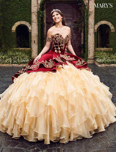 2021 Sweetheart Burgundy Ball Gown Quinceanera Dresses With Embroidery Tiered Skirts Lace Up Floor Length Vestido De Festa Sweet 16 Dress