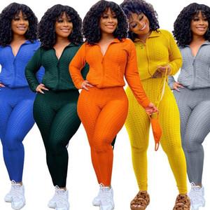 2TWO PICE SET Kadınlar Track Suit Spor Örme Set Uzun Kollu Zip Up Ceket Tayt Sweatpants Sweatsuit Toptan Dropshipping1