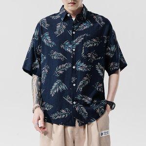 Brand New 2021Beach Summer Print Flower Short Sleeves Hawaii Collar Korea Style Shirt For Men's Harajuku Clothing