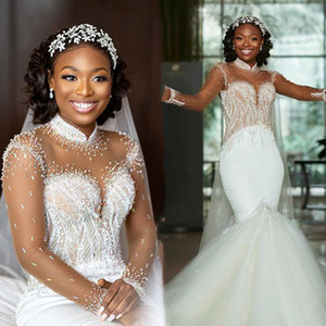 2021 South African Mermaid Wedding Dresses Sheer Long Sleeves Beaded Sequins High Collar Bride Wedding Gowns Sweep Tulle Trumpet Dress