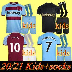 20 21 Batı Futbol Jersey Jambon 2020 2021 United Noble Formalar Anderson Pirinç Noble Futbol Gömlek Çocuk Seti 125 Yıl 125th Üçüncü Siyah