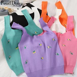 Pearl Diario lavorata a maglia canotte Estate ricamo floreale Bassiera maniche corto Canotta Femme Knitting dolce Breve Crop