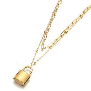 Chokers 2021 Высококачественные Панк Многослойные Цепи Золотой Цвет Из Нержавеющей Стали Пэтлок Кулон Choker Ожерелья Для Женщин Воротник Ювелирные изделия