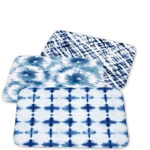 Anti-Slip Blue White Porcelain Kitchen Entrance Door Mat Suede Soft Carpet Rubber Indoor Floor Doormat Rug Marble Geometry Mats
