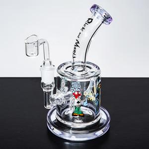 المياه الزجاج 10 بوصة بونغ الوردي الداب النفط تلاعب الفوار طويل القامة كأس الزجاج السميك مصغرة أنابيب المياه مع وعاء 14MM