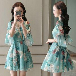 Chiffton cintura fina impressão floral meia trombeta manga v-pescoço uma linha dobra retalhos fashion elegante feriado vestidos de cocktail 9349 festa
