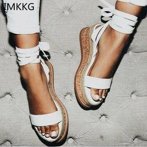 IMKKG Estate Bianco cuneo Espadrillas Donna Sandali Open Toe gladiatore sandali delle donne casuali Lace Up donne della piattaforma sandali m364 201028