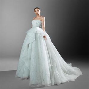 Zuhair Murad Newest 2021 A-line Wedding Dresses Sexy Strapless Tiered Lace Appliqued Bridal Gown Chapel Custom Made Vestidos De Novia