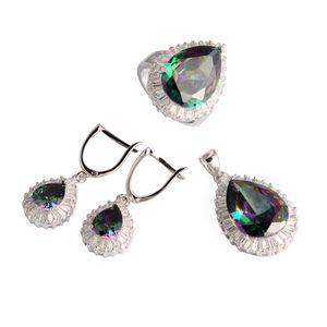 SHUNXUNZE Big Engagement Wedding jewelry sets for women Rave reviews dropshipping Rainbow Cubic Zirconia Rhodium Plated R710set size 6 7 8 9
