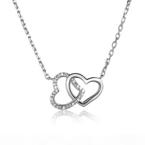 Double Heart Necklaces White Gold Rose Gold Colors Heart Pendant With 16 Inches Chain 925 Silver Jewelry