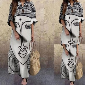 2021 spring new women's hot style fashion and elegant face printing large size loose dress