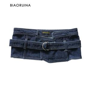 Moda Denim Cummerbunds Femlae High Street Belt Ladies lavagem de BIAORUINA Mulheres Streetwear Cintura