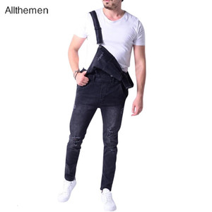 Allthemen Men's Mens Fashion Denim Dungaree Bib Overalls Jumpsuits Moto Biker Jeans Pants Trousers
