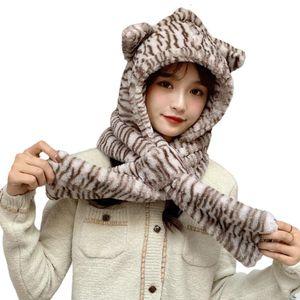 FactoryV93ein Lenço Mulheres 1 Beanie de Inverno Hooded 2 Hat Zebra-listrado Urso Orelhas Earflap Cap Dxae
