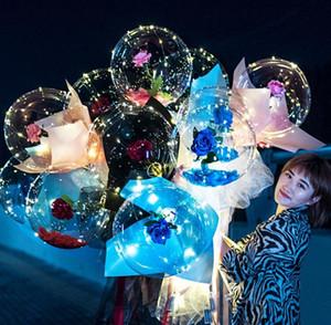 LED BOBO Воздушный шар Светящийся букет Розы Свет прозрачный Пузырь Розовый Шаром Валентина Подарочный День Рождения Свадьба Украшения