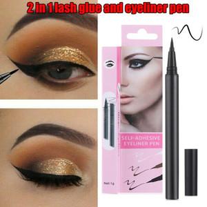 2 В 1 Волшебное самоклеящаяся Black Eyeliner Magnetic Liquid быстросохнущие липкую жидкость Ресницы Нет клея необходимо Eye Liner Pen