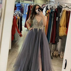 Dark Gray Prom Dresses 2021 New Evening Dress Party Gowns Beaded Top Special Occasion Dress Front Split Dubai 2K21 Black Girl Couple Day