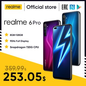 6 Pro Smartphone 6.6inch 8 GB RAM 128 GB ROM Aslanağzı 720g Telefon 4200mAH Pil 30W Flaş Şarj 64MP Cep Telefonları realme