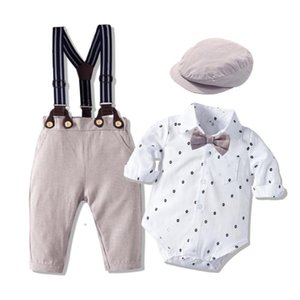 Abbigliamento da pagliaccetto Set per neonato con cappello di prua Gentleman Striped Summer Tuta con prua Toddler Body Body Set infant Boy Abbigliamento