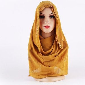70cm*170cm Women Cotton Bubble Plain Wrinkle Hijab Scarves With Fringes Popular Muslim Muffler Shawls Wraps Large Pashmina bbygAU insyard