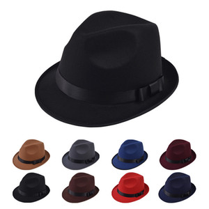 Men Women Wide Brim Wool Felt Jazz Fedora Hats British style Trilby Party Formal Panama Cap Black Yellow Dress Hat
