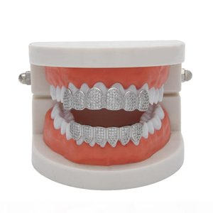 Gold Color Hip Hop Micro Pave Cubic Zircon Teeth Grillz Caps Top&Bottom Men Women Vampire Fangs Grills set