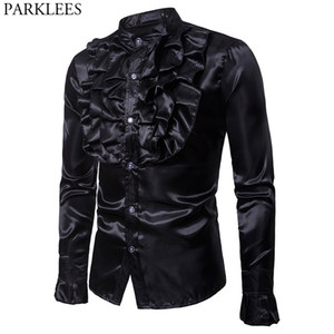 Black Silk Satin Slim Fit Shrt Men Vintage Wedding Tuxedo Dress Shirts Mens Unique Design Gothic Flower Shirt Male Chemise Homme 201022