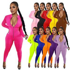 Plus Size Tangsuits Designer Designer Slim Slim Manica Lunga Zipper Pagliaccetti Solid Color Stand Collar Donne Sexy Bodycon Abbigliamento