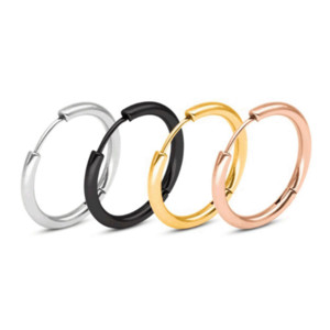 Punk Unisex Kleine Reifen Ohrringe Schwarz Gold Silber Farbe Edelstahl Ohrring Kreis Mode Ohr Schmuck Für Frauen MAN 120 J2