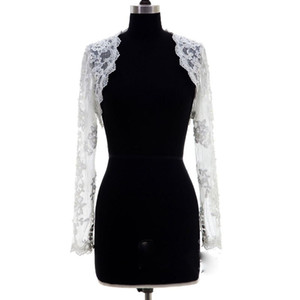 New Arrival White Lace Long Sleeves Wedding Bolero Wrap Appliques Custom Made Cheap Bridal Jacket Cape Women Vest