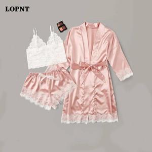 Lopnt Women's Lingerie Robe Set Sexy Pijamas Set Satin Sleepwear Seda 3 Peças de Nightwear Pijamas Ladies Set Floral Noite Terno LJ200822