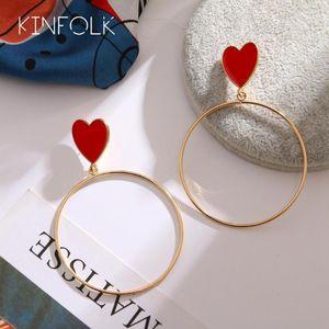 Kinfolk Fashion Gold Heart Hopp Pendientes para mujeres Oro Bohemio Pendiente Big Hoops de moda Mujeres Coreanas Earings Joyería 20201