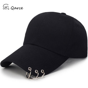 SYi Qarce High Quality Adjustable Baseball Hat with ring Outdoor Sports Sun Cap for Women Men Fashion Snapback Hat NM434-36
