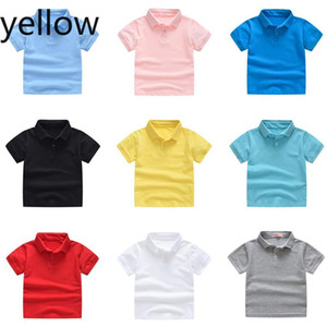 2020 new kids summer pure cotton short sleeve shirt baby boy girl solid color polo shirt 2-7 years old children's brand polo outerwear