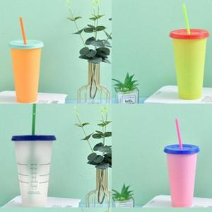 البلاستيك pp بهلوان اللون النقي مع غطاء أكواب القش المشروبات القهوة واضحة قابلة لإعادة الاستخدام الفلورسنت القدح الأدوات المنزلية في الهواء الطلق 5hb g2