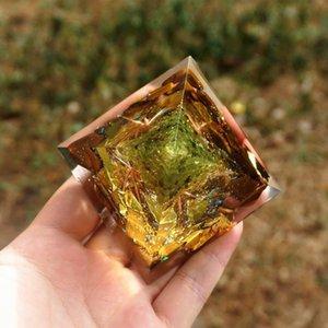 Árbol hecho a mano de la vida Orgone Pyramid 60mm Peridot con piedra de cristal de ojo de tigre, acumulador de orgone, emf orgonita energy jllmny