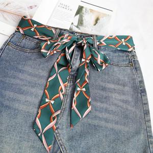 ladies Scarves Waistband Street Snap Fashion Narrow Strip Lengthen Accessories bag hair Ribbon Chain printing Belt Waist Ribbon