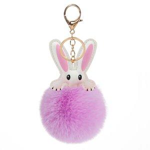 Free DWL Shipping Wholesale Cute PU Leather Rabbit Ear Artificial Fur Plush pom pom Ball Keychain DWD1312