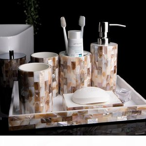 WSHYUFEI European Bathroom Set shell Resin bathroom supplies Liquid Soap Dispenser Soap Toothbrush Holder Home Decoration